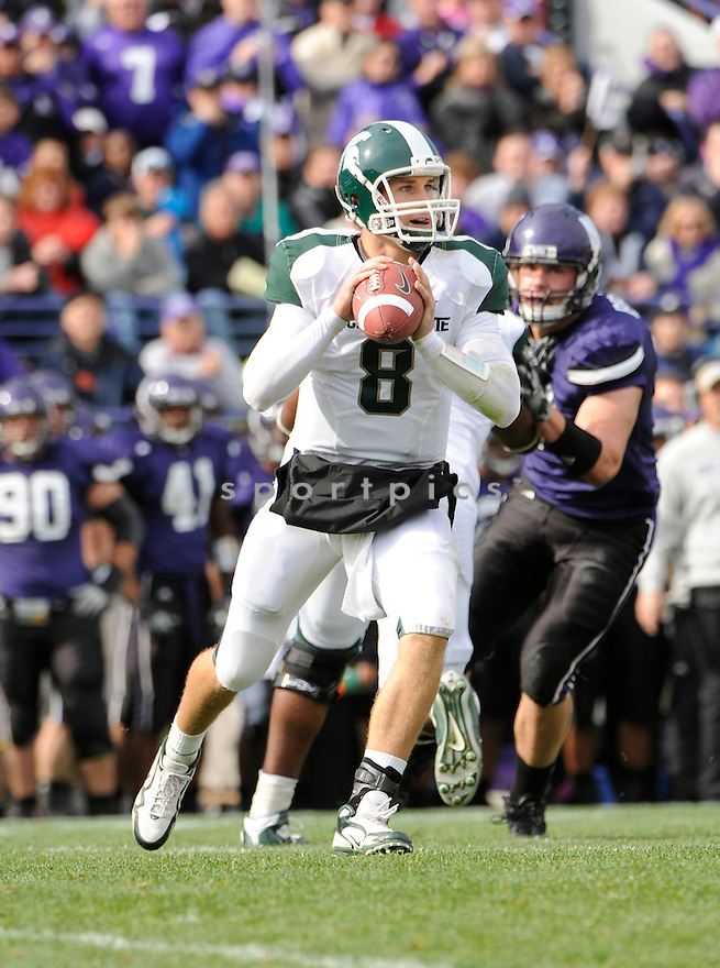 KIRK COUSINS, of the Michigan State Spartans, in action during the Spartans game against the Northwestern Wildcats at Ryan Field on October 23, 2010  in Evanston...Michigan State beat Northwestern 35-27.