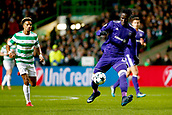 5th December 2017; Glasgow, Scotland; Kara Serigne Modou Mbodji defender of RSC Anderlecht lays the ball back under pressure from Scott Sinclair during the Champions League Group B match between Celtic FC and Rsc Anderlecht