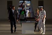 United States President Barack Obama walks with First Lady Michele Obama, Pacific Fleet Commander Admiral Robert F. Willard and his wife Donna WIllard walk around the U.S.S. Arizona Memorial on Thursday, December 29, 2011 in Pearl Harbor, Hawaii. .Credit: Kent Nishimura / Pool via CNP