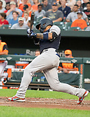 New York Yankees second baseman Gleyber Torres (25) singles in the second inning against the Baltimore Orioles at Oriole Park at Camden Yards in Baltimore, MD on Saturday, August 25, 2018. This is the regularly scheduled game for today.<br /> Credit: Ron Sachs / CNP<br /> (RESTRICTION: NO New York or New Jersey Newspapers or newspapers within a 75 mile radius of New York City)