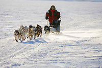 Ray Redington Jr.'s dogs kick up snow in wind as they run on Yukon River just before Anvik
