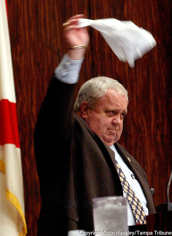TALLAHASSEE, FL. 4/24/03-Senate President Jim King, R-Jacksonville, waves his handkerchief as debate by Sen. Anna Cowin, R-Leesburg, on the medical malpractice insurance reform bill goes too long Thursday at the Capitol in Tallahassee. The Senate passed the bill. COLIN HACKLEY PHOTO