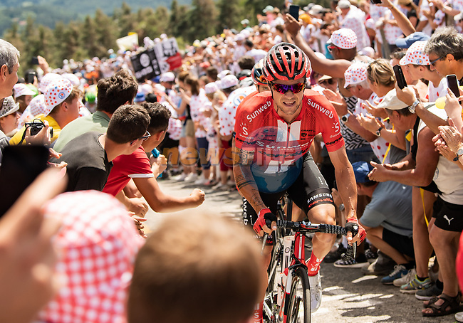 Nicolas Roche (IRL) Team Sunweb from the breakaway climbs the Cote de Saint-Just during Stage 9 of the 2019 Tour de France running 170.5km from Saint-Etienne to Brioude, France. 14th July 2019.<br /> Picture: ASO/Alex Broadway | Cyclefile<br /> All photos usage must carry mandatory copyright credit (© Cyclefile | ASO/Alex Broadway)