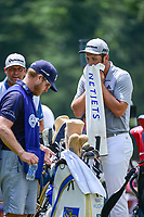 Jon Rahm (ESP) towels off at the 9th tee during Saturday's round 3 of the PGA Championship at the Quail Hollow Club in Charlotte, North Carolina. 8/12/2017.<br /> Picture: Golffile | Ken Murray<br /> <br /> <br /> All photo usage must carry mandatory copyright credit (&copy; Golffile | Ken Murray)