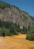 Photos of polluted water in Red Mountain Creek near Ouray, Colorado, Wednesday, August 19, 2015. The river is polluted with contaminants including cadmium, arsenic, copper, lead and zinc from the Gold King Mine spill near Silverton.<br /> <br /> Photo by Matt Nager