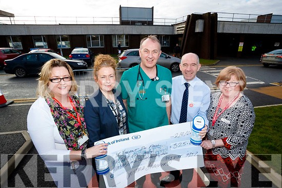 Pictured on Friday morning last were staff from University Hospital Kerry who raised €325 from a Christmas Jersey Jumper Day held on December 8th, l-r: Nollaig Barry (Staff Officer), Betty Murphy (Deputy General Manager), Martin Boyd (Consultant Emergency Medicine), Fearghal Grimes (General Manager) and Mary O'Callaghan (Senior Medical Bio Scientist).