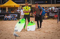 "DEE WHY, Sydney NSW/AUS (Saturday, April 21, 2012) Courtney Conlogue (USA) with her mother Tracy.  The Finals of the 2012 Commonwealth Bank Beachley Classic were completed today with Courtney Conlogue (USA) defeating Malia Manuel (HAW) for her first elite women's tour event win. Both finalist had never made it as far before in an ASP World Tour event. The surf was clean, with two-to-three foot (1.5 meter) waves on offer for the Top 17 female surfers in the world to battle for the richest prize purse on the ASP Womens World Championship Tour.. .Stop No. 4 of 7 on the 2012 ASP Womens World Championship Tour, the Commonwealth Bank Beachley Classic is run by seven-time ASP Womens World Champion Layne Beachley, and is in its seventh year.. .""There are a lot of sevens in my life at the moment,"" Beachley said. ""I'm so proud I've been able to run this event for seven years. I'm really appreciative of the Commonwealth Bank's support and am thrilled with the level of women's surfing. It's Finals day today. We've had a decrease in swell, but the girls are incredible at what they do and I'm sure they'll be able to put on a great show today. I'll be getting in the water later in the day for the celebrity challenge, and the Nikon Expression Session."" .Manuel defeated Stephanie Gilmore (AUS) in the quarterfinals and Conlogue defeated Sally Fitzgibbons (AUS) also in the quarterfinals. Gilmore remains number one on the world tour ratings with Fitzgibbons in second place. Photo: joliphotos.com"