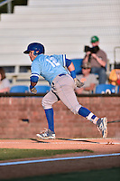Burlington Royals second baseman Gabriel Cancel (12) runs to first base during Game Two of the Appalachian League Championship series against the Johnson City Cardinals at TVA Credit Union Ballpark on September 7, 2016 in Johnson City, Tennessee. The Cardinals defeated the Royals 11-6 to win the series 2-0.. (Tony Farlow/Four Seam Images)