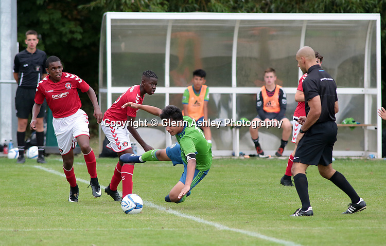 Seattle Sounders U-14's v Charlton Athletic U-14's at the 2018 Youdan Trophy, Sheffield, United Kingdom, 3rd August 2018. Photo by Glenn Ashley.