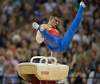 Brinn Bevan (GBR) in action during the men's Pommel Horse competition.  FIG World Cup Series of Gymnastics. The O2 Arena, London,  Britain 8th April 2017.