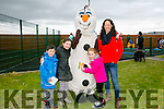 l-r  Catriona O'Shea, Lilly May O'Shea, Morrie O'Shea and Caitlyn O' Donovan with Olaf at the Tralee Bay Wetlands Easter Family Fun Day on Monday