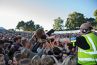 Matt Bowman of The Pigeon Detectives get amongst the fans at AmpRocks  2016 at Ampthill Great Park, Ampthill, England on 1 July 2016. Photo by David Horn.