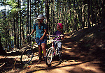 Woman and girl bicycling at Moran State park