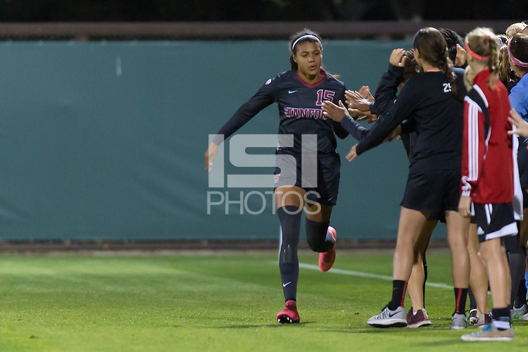 Stanford, CA - October 29, 2015: Alana Cook during Stanford women\'s soccer against USC at Maloney Field. Stanford defeated USC 1-0.