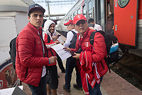 CHELYABINSK, RUSSIA - June 21, 2018: Peru fans board a train at Chelyabinsk, Russia for the five hour ride to Yekaterinburg for their 2018 FIFA World Cup group stage match against France at Yekaterinburg Arena Stadium.