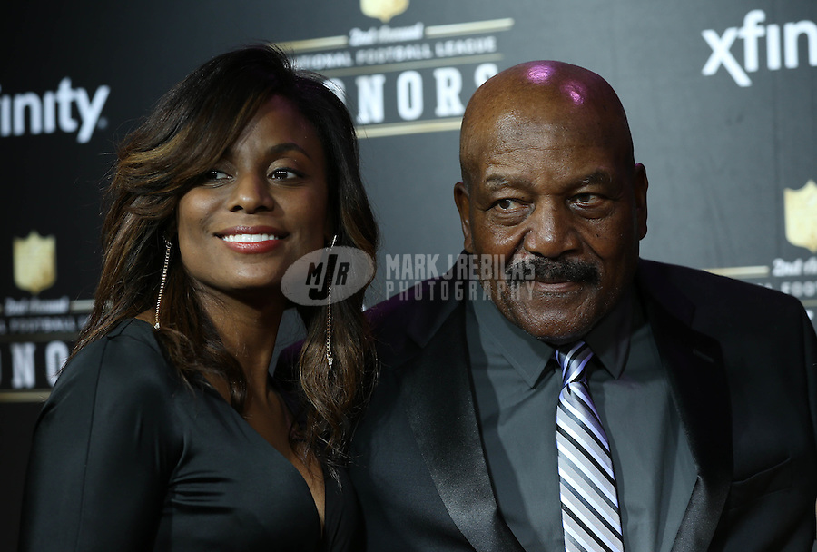 Feb. 2, 2013; New Orleans, LA, USA: Cleveland Browns former player Jim Brown (right) and Monique Brown walk the red carpet prior to the Super Bowl XLVII NFL Honors award show at Mahalia Jackson Theater. Mandatory Credit: Mark J. Rebilas-USA TODAY Sports