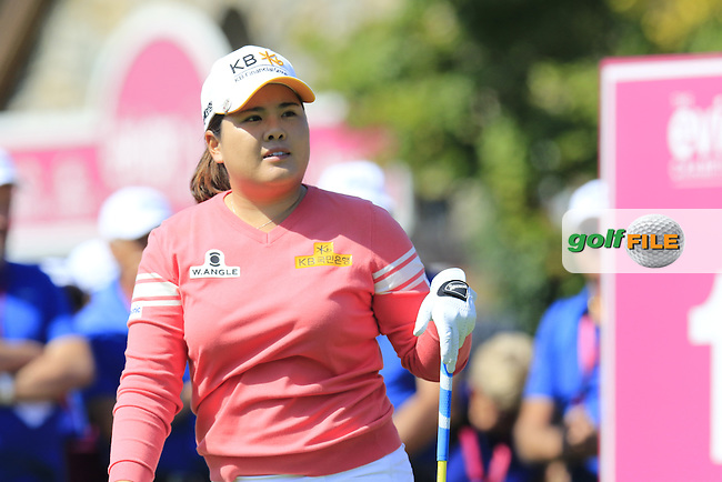Inbee Park (KOR) tees off the 1st tee to start her match during Friday's Round 2 of the LPGA 2015 Evian Championship, held at the Evian Resort Golf Club, Evian les Bains, France. 11th September 2015.<br /> Picture Eoin Clarke | Golffile
