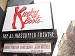'Kinky Boots' Theatre Marquee unveiling: Inspired by a true story and based on the film, Kinky Boots features a  book by Harvey Fierstein (La Cage, Torch Song Trilogy, Newsies) and a richly diverse musical score from Cyndi Lauper, in her stunning theatrical debut. Jerry Mitchell (Hairspray, La Cage, Broadway Bares) directs this Broadway Musical at the Al Hirschfeld Theatre in New York City on 1/15/2013