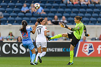 Bridgeview, IL - Sunday August 20, 2017: Christen Press, Sydney Miramontez, Nicole Barnhart during a regular season National Women's Soccer League (NWSL) match between the Chicago Red Stars and FC Kansas City at Toyota Park. KC Kansas City won 3-1.