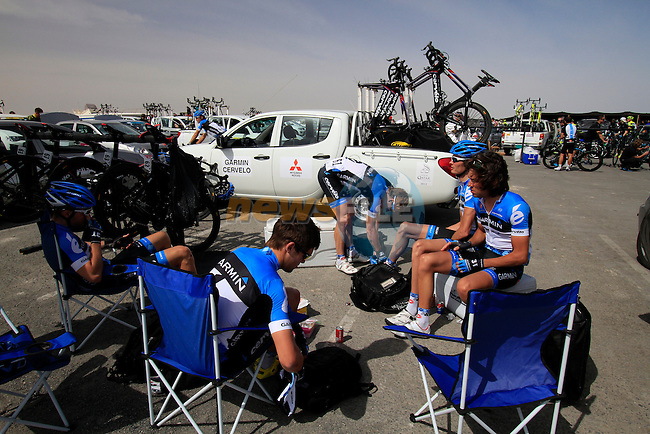 Garmin-Cervelo team riders relax before the start of Stage 4 of the 2012 Tour of Qatar from Al Thakhira to Madinat Al Shamal, Al Thakhira port Qatar, 8th February 2012 (Photo Eoin Clarke/Newsfile)