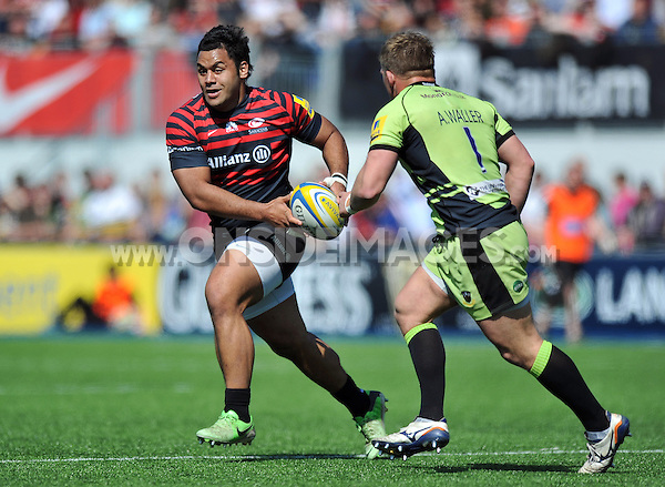 Billy Vunipola in possession. Aviva Premiership match, between Saracens and Northampton Saints on April 13, 2014 at Allianz Park in London, England. Photo by: Patrick Khachfe / JMP