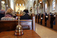 LATROBE, PA - OCTOBER 4: The Ryder Cup is displayed during a Celebration of Arnold Palmer at Saint Vincent College on October 4, 2016 in Latrobe, Pa. (Photo by Hunter Martin/Getty Images) *** Local Caption ***