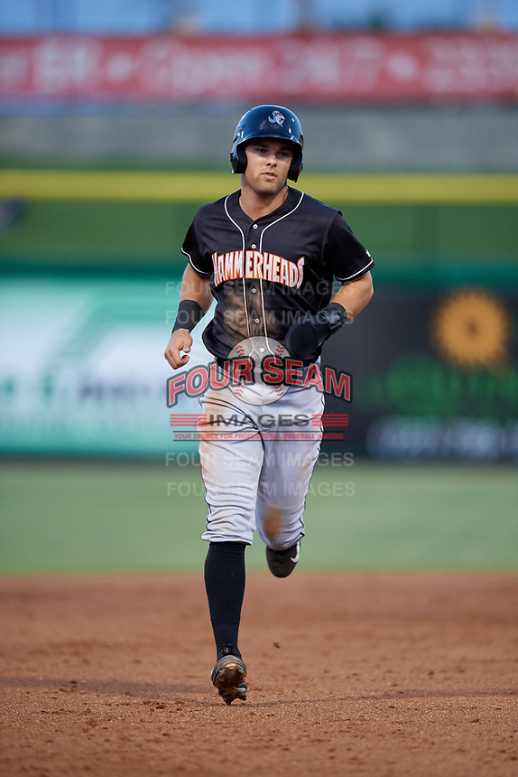 Jupiter Hammerheads second baseman Riley Mahan (2) runs the bases during a game against the Clearwater Threshers on April 12, 2018 at Spectrum Field in Clearwater, Florida.  Jupiter defeated Clearwater 8-4.  (Mike Janes/Four Seam Images)