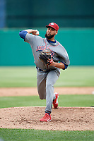 Lehigh Valley IronPigs relief pitcher Pedro Beato (44) delivers a pitch during a game against the Syracuse Chiefs on May 20, 2018 at NBT Bank Stadium in Syracuse, New York.  Lehigh Valley defeated Syracuse 5-2.  (Mike Janes/Four Seam Images)