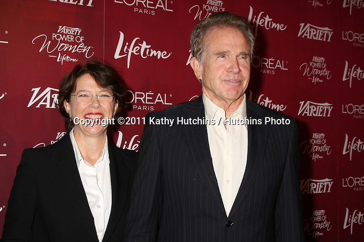 LOS ANGELES - SEPT 23:  Annette Bening, Warren Beatty arriving at the Variety's Power of Women Luncheon at Beverly Wilshire Hotel on September 23, 2011 in Beverly Hills, CA