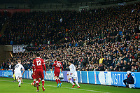 A general view fans during the final minutes at the Liberty Stadium during the Premier League match between Swansea City and Liverpool at the Liberty Stadium, Swansea, Wales, UK. Monday 23 January 2018