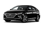 Stock pictures of low aggressive front three quarter view of 2020 Hyundai Ioniq-Plug-In-Hybrid Shine 5 Door Hatchback Low Aggressive