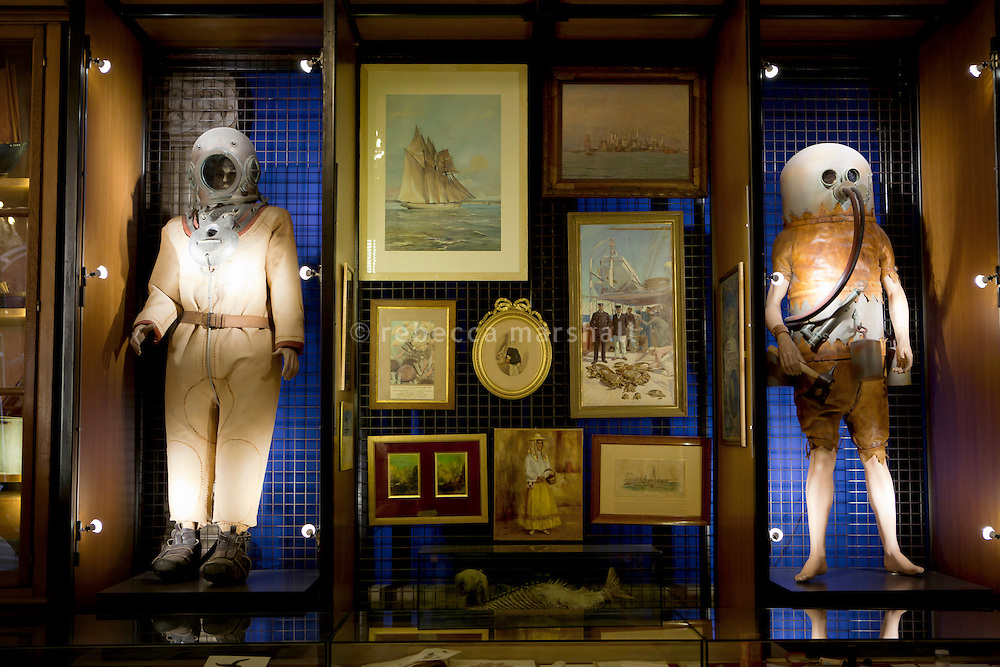 Detail of objects displayed in 'Oceanomania', a work of art created by Mark Dion, Musée Océanographique, Monaco, 5 July 2013. Oceanomania is a cabinet of curiosities inspired by the museum's permanent collections.