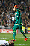 Real Madrid´s Keylor Navas and Marcelo Vieira during Champions League soccer match between Real Madrid  and Paris Saint Germain at Santiago Bernabeu stadium in Madrid, Spain. November 03, 2015. (ALTERPHOTOS/Victor Blanco)