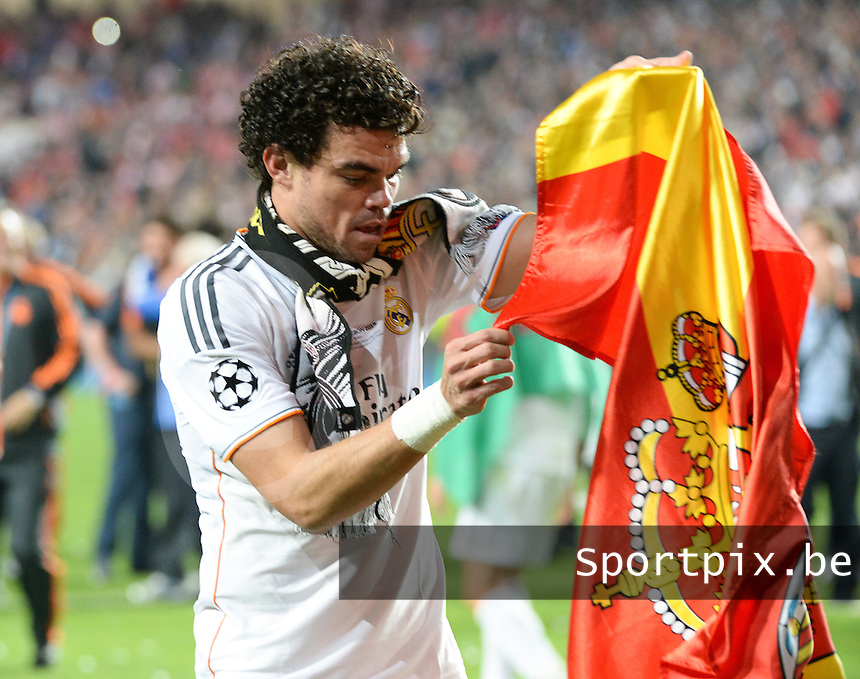 20140524 - LISBON , PORTUGAL : Real's Pepe pictured during soccer match between Real Madrid CF and Club Atletico de Madrid in the UEFA Champions League Final on Saturday 24 May 2014 in Estadio Da Luz in Lisbon .  PHOTO DAVID CATRY
