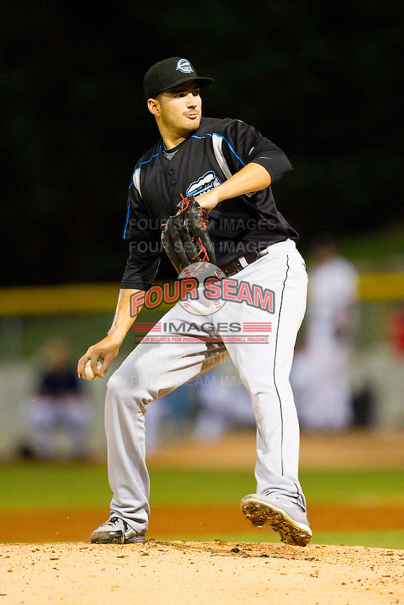 Syracuse Chiefs relief pitcher Christian Garcia (30) in action against the Charlotte Knights at Knights Stadium on August 29, 2012 in Fort Mill, South Carolina.  (Brian Westerholt/Four Seam Images)