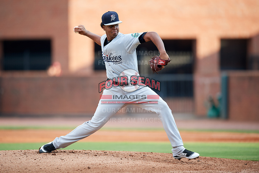 Pulaski Yankees starting pitcher Pedro Espinola (54) delivers a pitch during a game against the Greeneville Reds on July 27, 2018 at Pioneer Park in Tusculum, Tennessee.  Greeneville defeated Pulaski 3-2.  (Mike Janes/Four Seam Images)