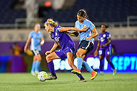 Orlando, FL - Saturday September 10, 2016: Dani Weatherholt, Samantha Kerr during a regular season National Women's Soccer League (NWSL) match between the Orlando Pride and Sky Blue FC at Camping World Stadium.