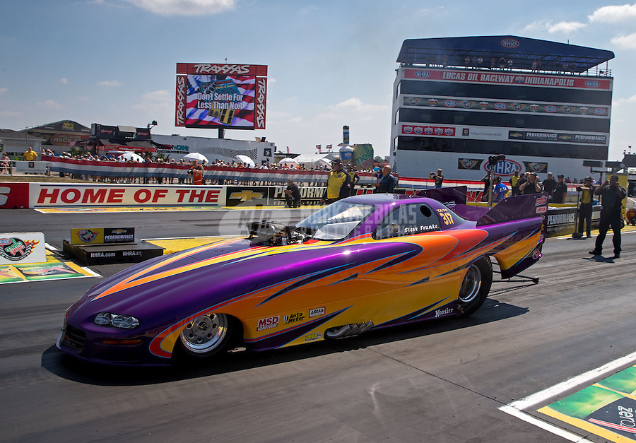 Aug. 30, 2013; Clermont, IN, USA: NHRA top alcohol funny car driver Steve Franke during qualifying for the US Nationals at Lucas Oil Raceway. Mandatory Credit: Mark J. Rebilas-