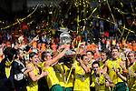 The Hague, Netherlands, June 15: Players of Australia celebrate the win of the world cup during the prize giving ceremony on June 15, 2014 during the World Cup 2014 at Kyocera Stadium in The Hague, Netherlands. (Photo by Dirk Markgraf / www.265-images.com) *** Local caption ***