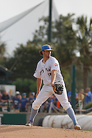 "Myrtle Beach Pelicans pitcher Tyler Skulina (44) on the mound during game one of a doubleheader against the Carolina Mudcats at Ticketreturn.com Field at Pelicans Ballpark on June 6, 2015 in Myrtle Beach, South Carolina. During the game the Pelicans wore special ""Let's Play Two"" uniforms as a tribute to the late Chicago Cubs Hall of Famer Ernie Banks, as they do during the first game of every home doubleheader during 2015. Carolina defeated Myrtle Beach 1-0. (Robert Gurganus/Four Seam Images)"