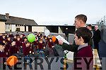 Irish defence forces Lt Denis Sheahan read out part of the proclamation to pupils of  Scoil Mhuire de Lourdes Boys School Lixnaw  on Thursday when the visited the school to present the Irish Tri Colour and Proclamation