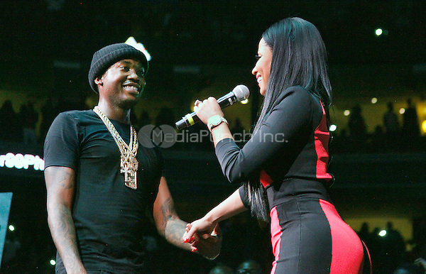 PHILADELPHIA, PA - OCTOBER 23 :  Nikki Minaj joins her boyfriend, Meek Mill on stage at Powerhouse 2015 at the Wells Fargo Center in Philadelphia, Pa on October 23, 2015 photo credit Star Shooter / MediaPunch