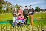 Not Really winner of the Oaks Trial Stake at Kilflynn Coursing Club on Monday. Pictured Margaret Nester,back   Michael Nester, Trainer, Joe Lynch, Al Tubrity and  Pat Herbert