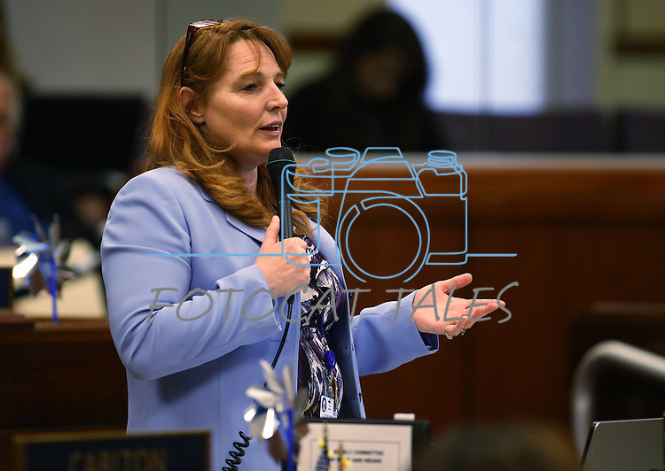Nevada Assembly Minority Leader Marilyn Kirkpatrick, D-North Las Vegas, speaks on the Assembly floor at the Legislative Building in Carson City, Nev., on Monday, April 6, 2015. <br /> Photo by Cathleen Allison