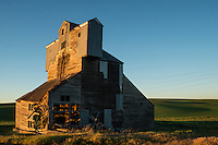 An old grain hopper is an icon of the western United States of America. I love the way the electrical lines almost disappear in the sunlight behind the building.