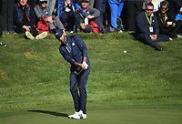 Dustin Johnson (Team USA) on the 12th during Saturday's Fourballs, at the Ryder Cup, Le Golf National, &Icirc;le-de-France, France. 29/09/2018.<br /> Picture David Lloyd / Golffile.ie<br /> <br /> All photo usage must carry mandatory copyright credit (&copy; Golffile | David Lloyd)