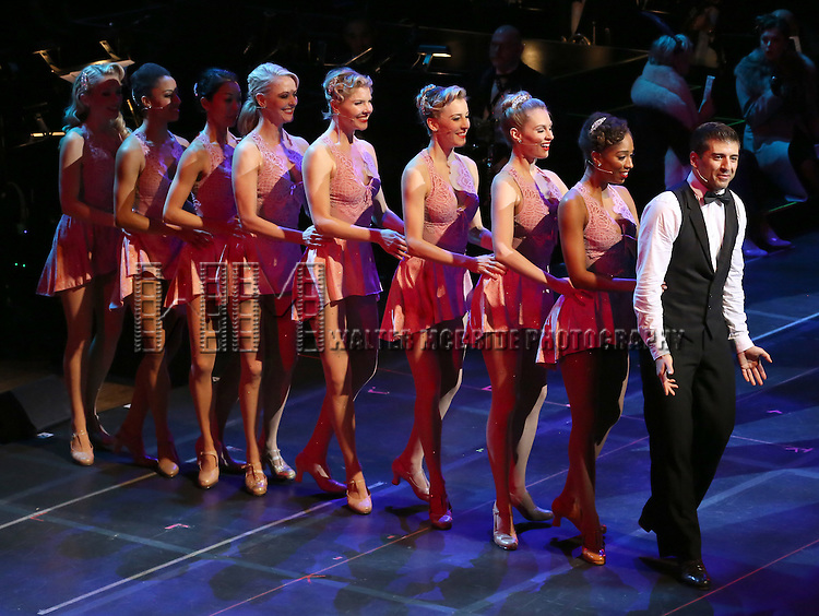 "Tony Yazbeck and cast during the Manhattan Concert Productions 25th Anniversary concert performance of ""Crazy for You"" at David Geffen Hall, Lincoln Center on February 19, 2017 in New York City."