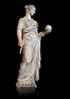 Second century AD Roman statue of Urania holding, the muse of atronomy holding  a globe, the statue was restored from two separte staues of the period, inv 293, Vatican Museum Rome, Italy,  black background