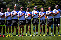 The Fiji team sings the national anthem before the rugby match between New Zealand Maori Under-18 and Fiji Schools at Jerry Collins Stadium in Porirua, Wellington, New Zealand on Friday, 5 October 2018. Photo: Dave Lintott / lintottphoto.co.nz