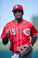 Cincinnati Reds outfield Zeke White (35) jogs off the field between innings during an Instructional League game against the Kansas City Royals on October 2, 2017 at Surprise Stadium in Surprise, Arizona. (Zachary Lucy/Four Seam Images)